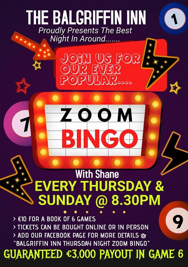 Zoom Bingo at The Balgriffin Inn